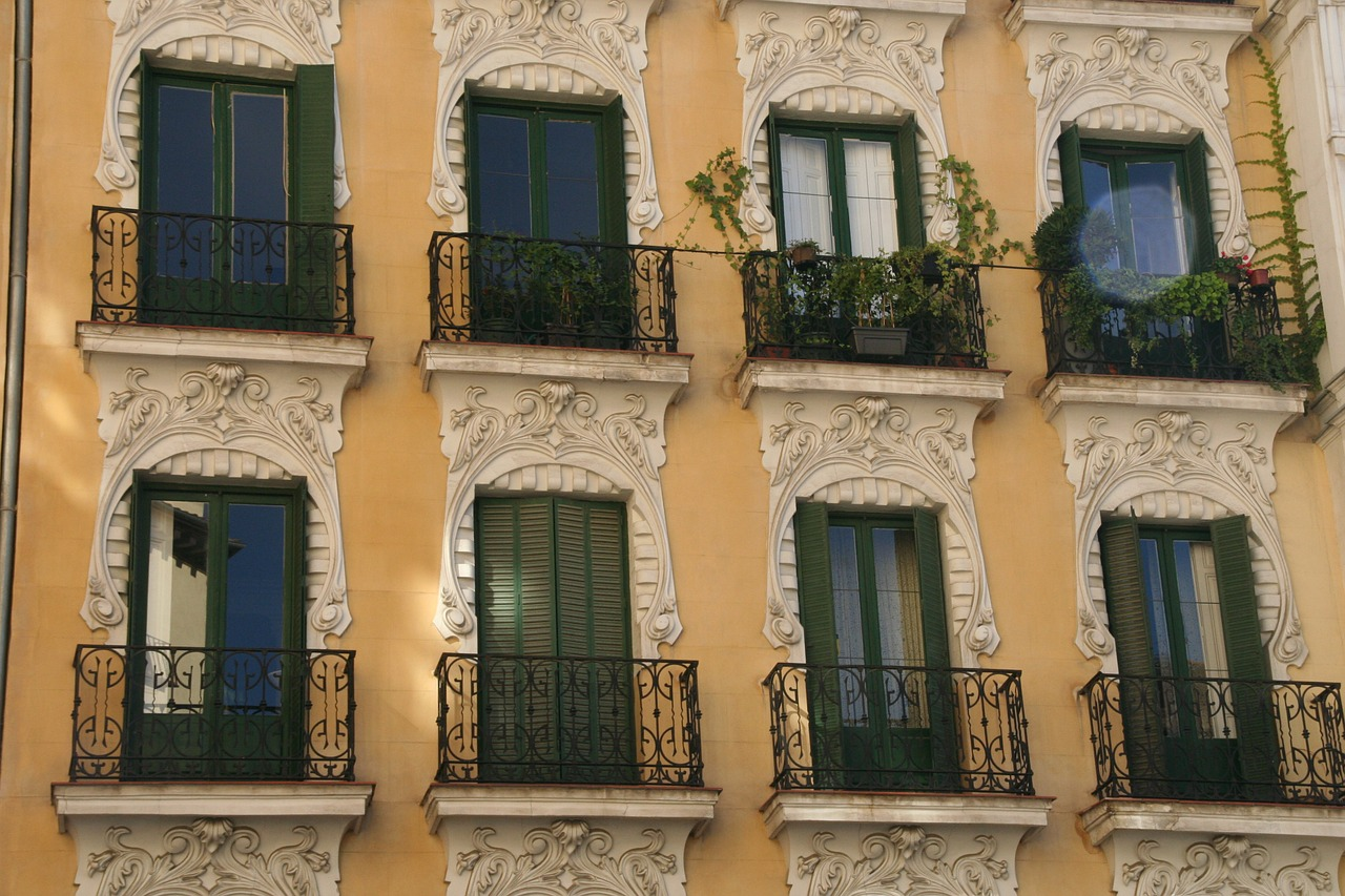 window balcony facade free photo