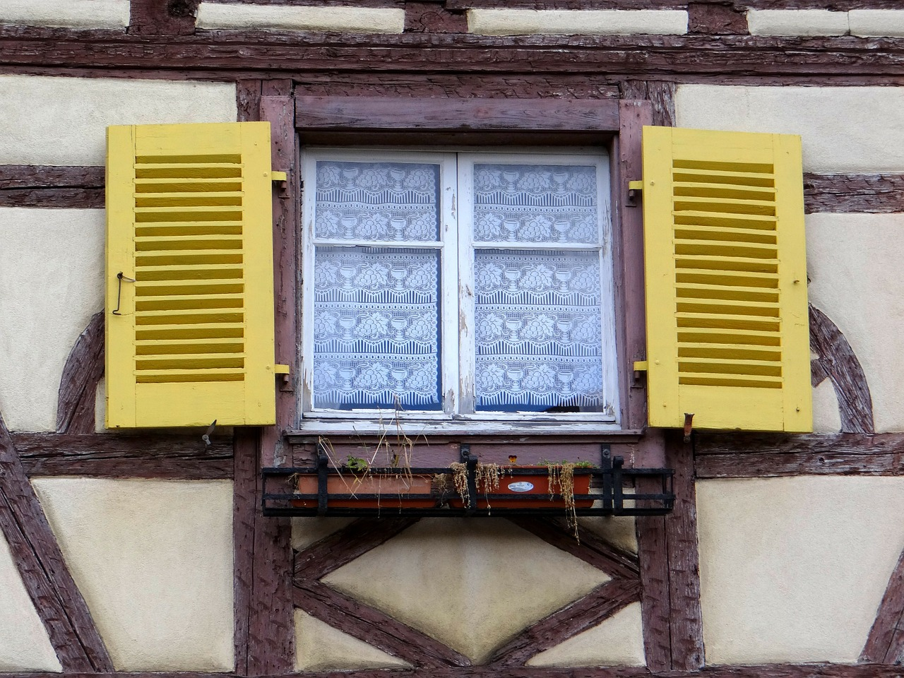 window shutters yellow free photo