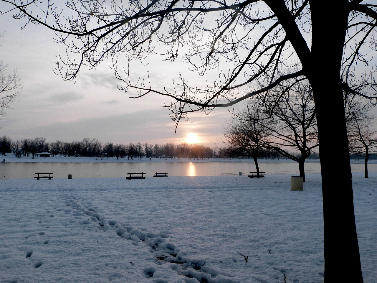 winter lake sunset free photo
