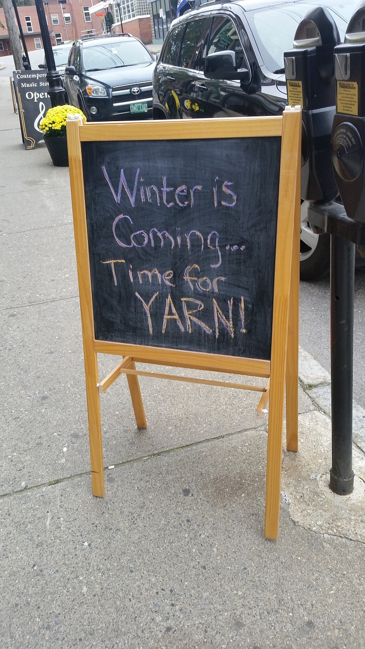 winter is coming sign yarn free photo