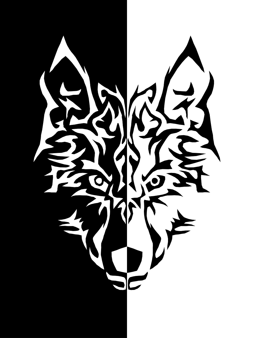 Wolf Black And White Iphone Wallpaper Desktop Wallpapers Drawing Free Image From Needpix Com