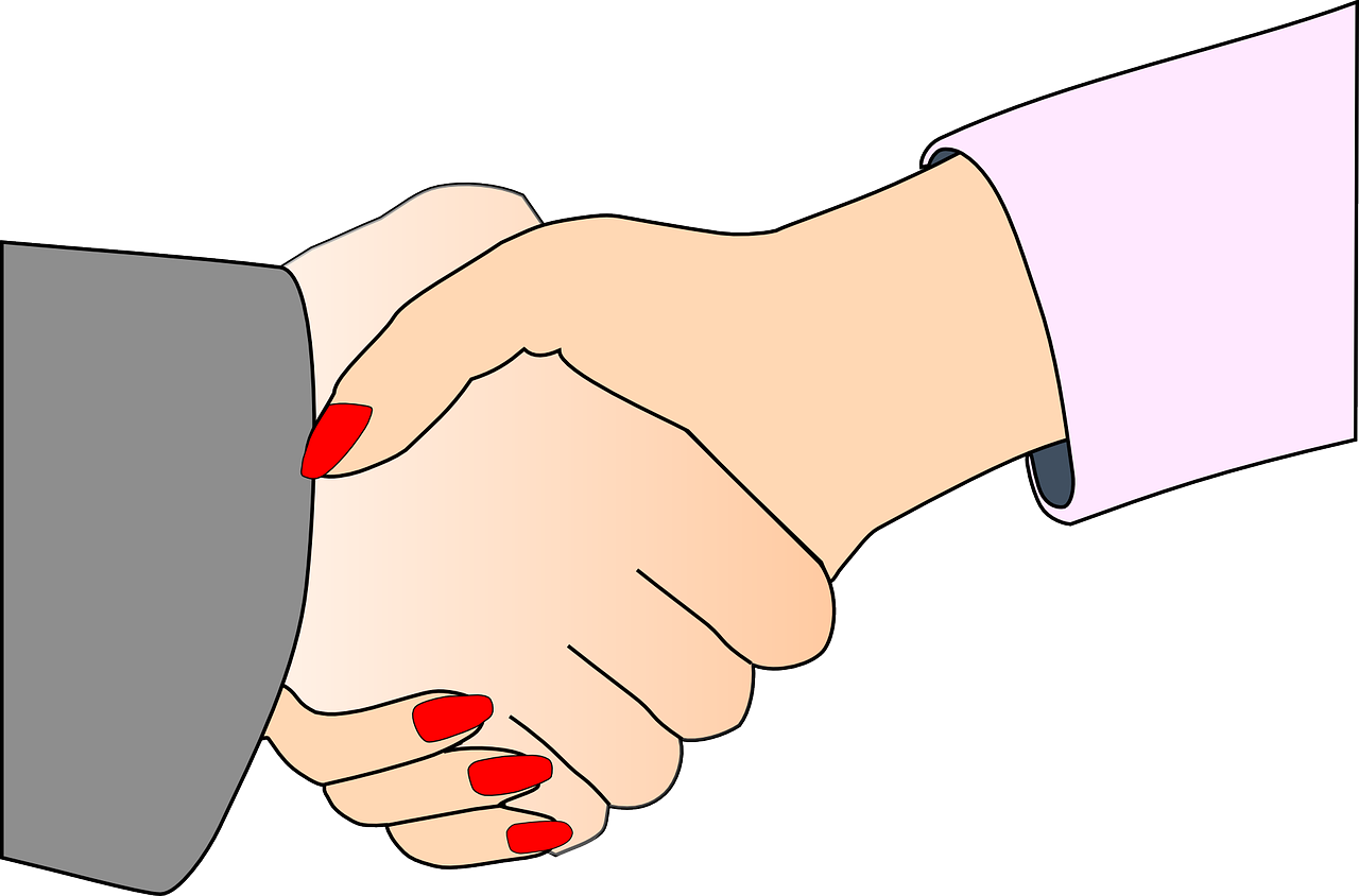 woman partners handshake free photo