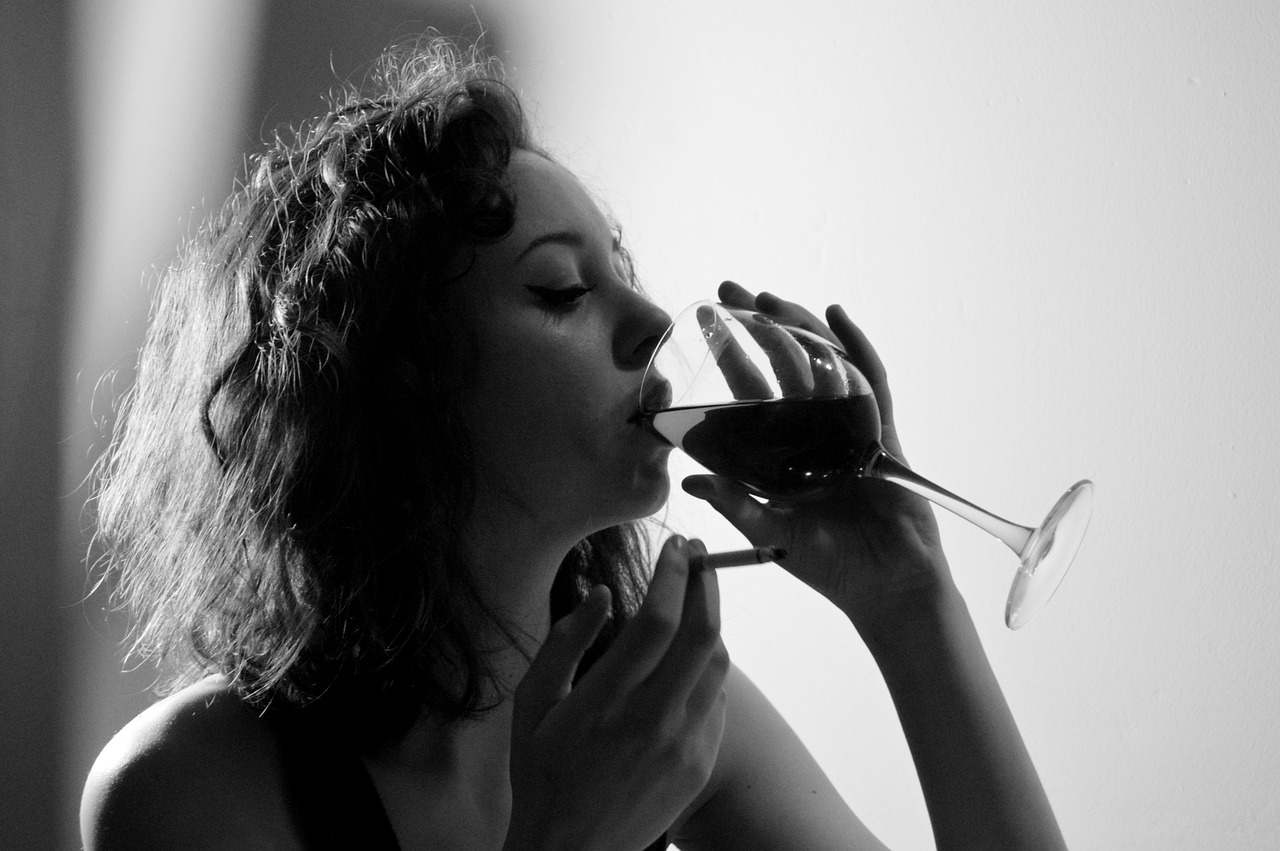 woman wine black and white free photo