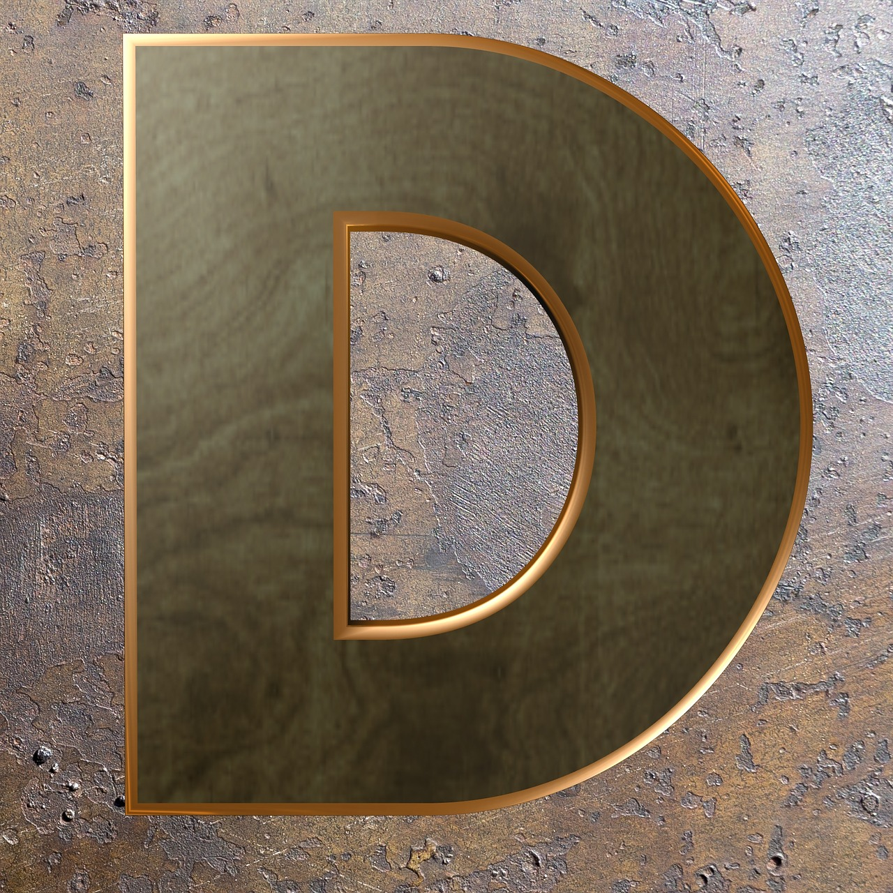 wooden letter wood metal