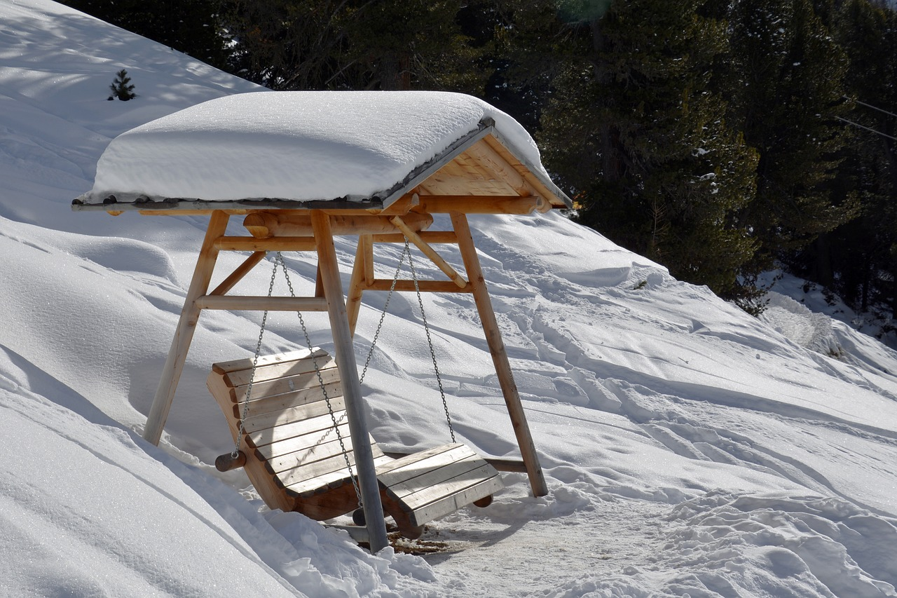 wooden swing winter rest free photo