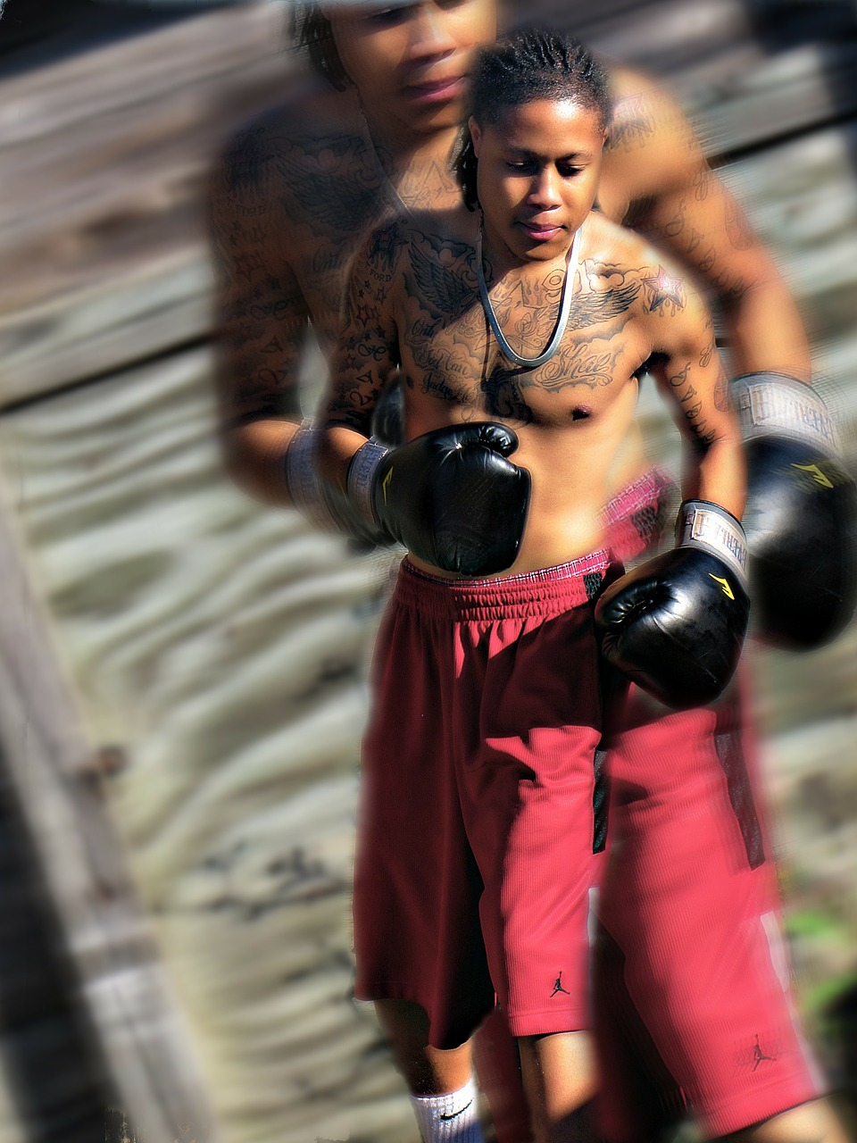 young man boxing free photo