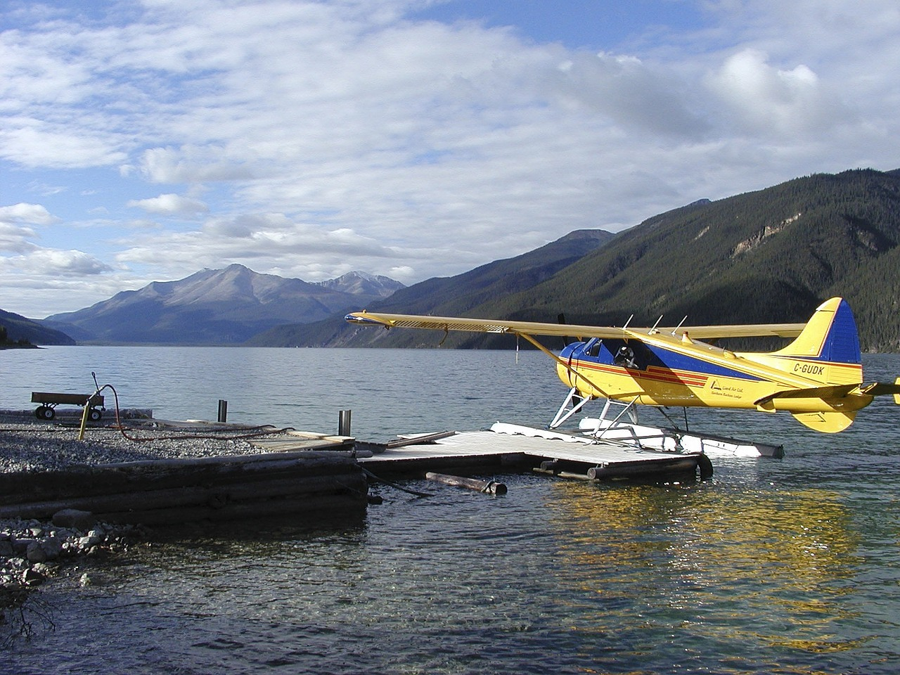 yukon territory float plane lake free photo
