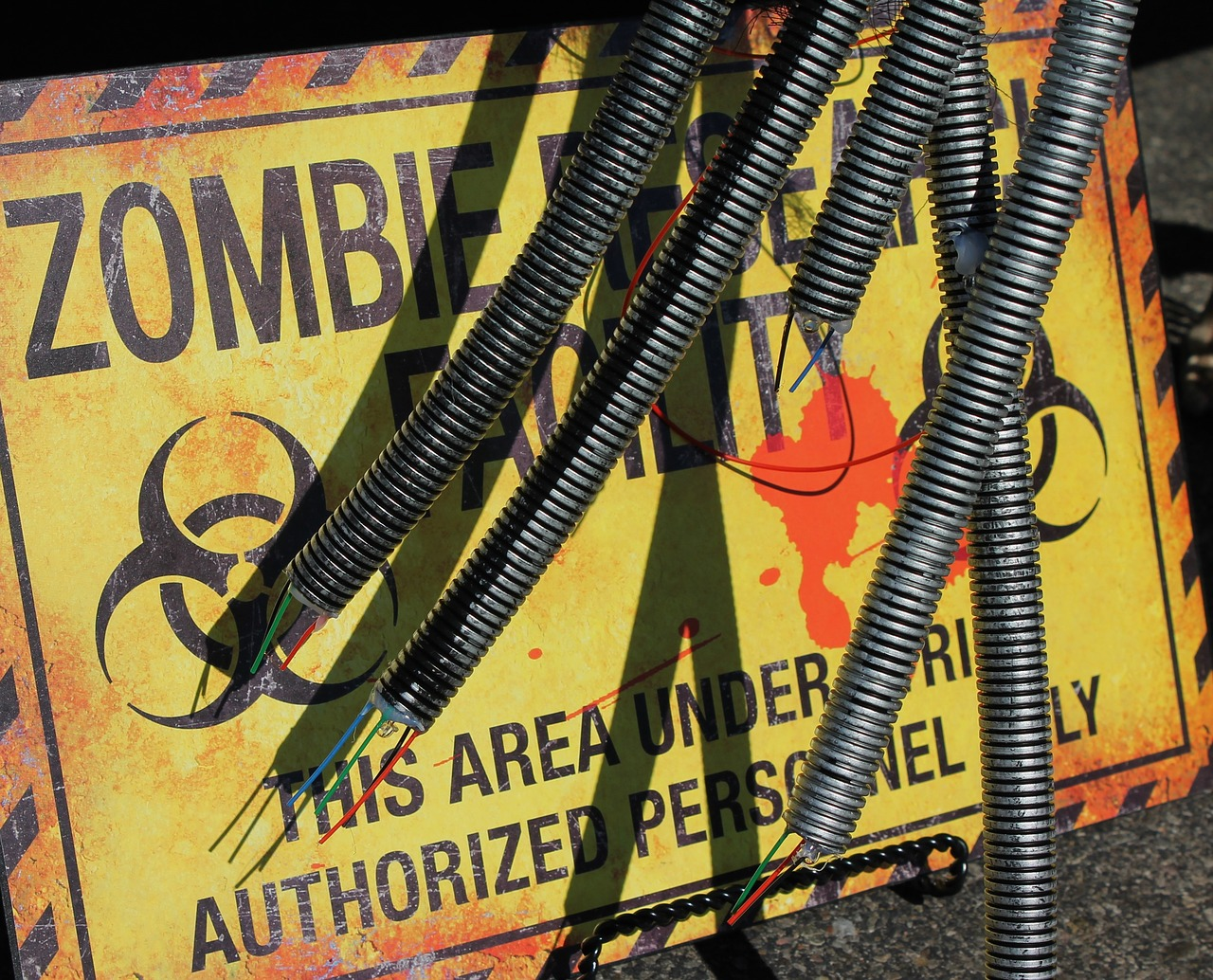 zombie research facility zombie research warning sign free photo