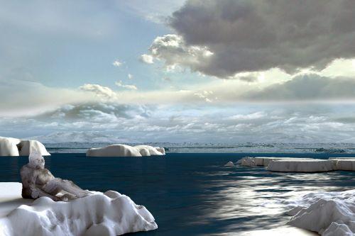 Šiaurė, šaltas, yeti, meilė, ledkalnis, debesys, vandenynas, šviesa, vyras, moteris, kartu, džiaugsmas, kartu