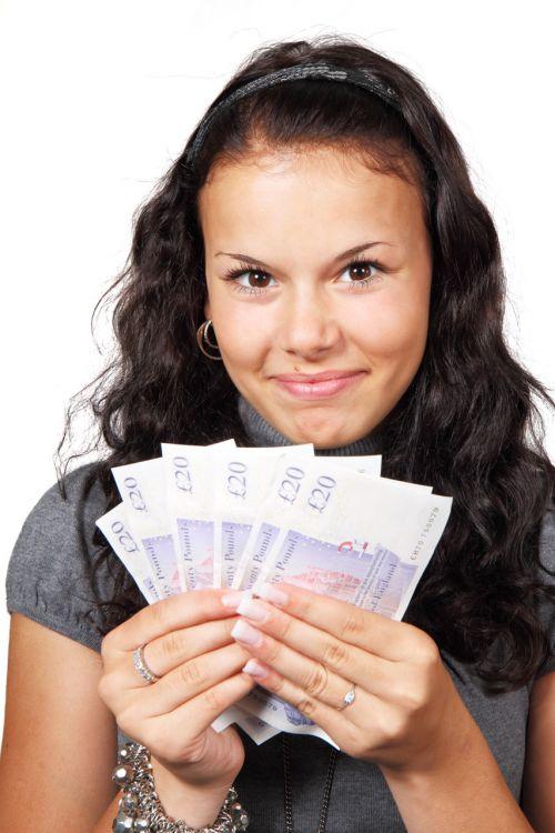 Woman And Money Fan
