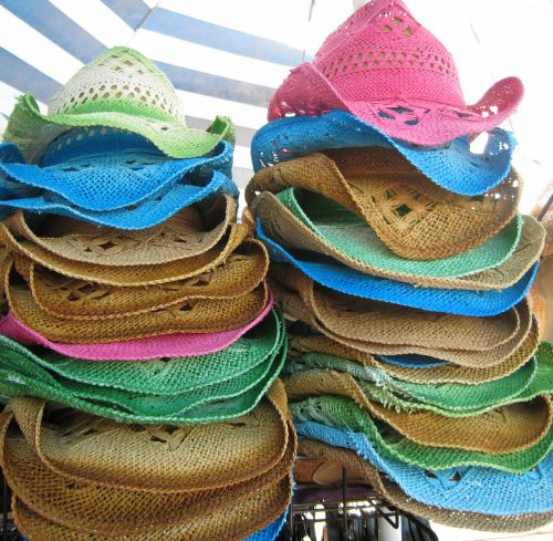 Colorful Stacked Straw Hats