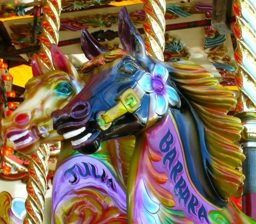 2 Carousel Ride Horses