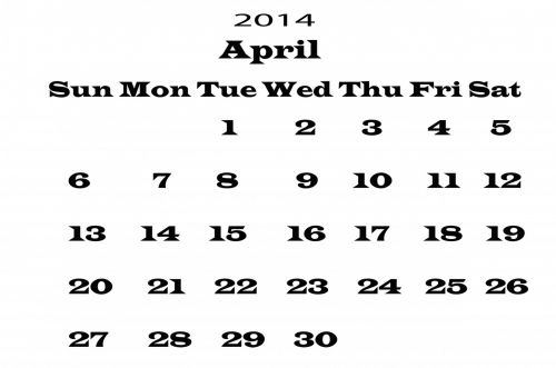 2014 Calendar April Template