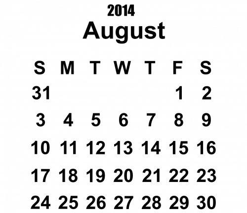 2014 Calendar August Template