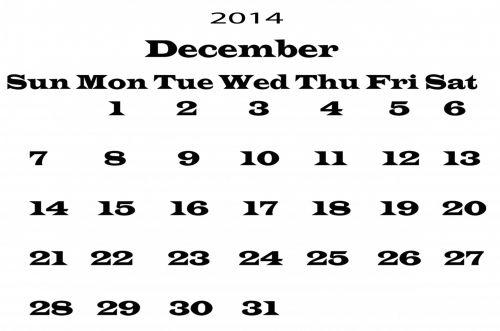 2014 Calendar December Template