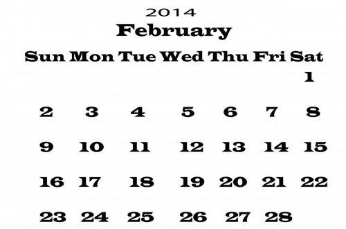 2014 Calendar February Template