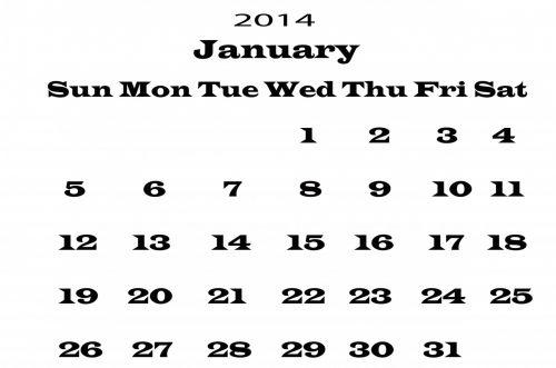 2014 Calendar January Template