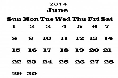 2014 Calendar June Template