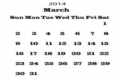 2014 Calendar March Template