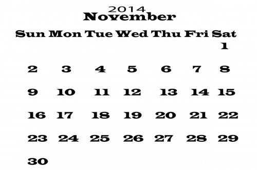 2014 Calendar November Template