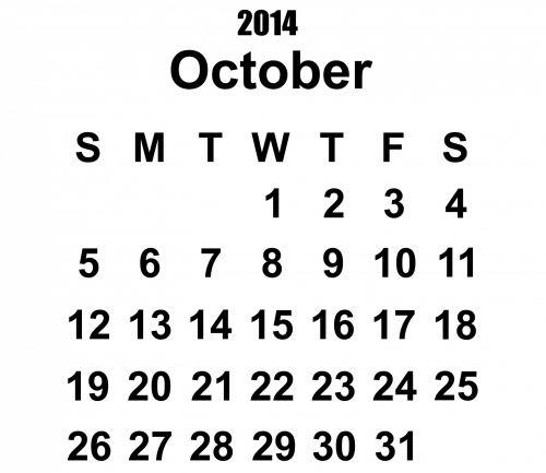 2014 Calendar October Template