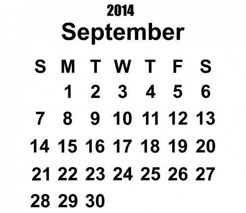 2014 Calendar September Template