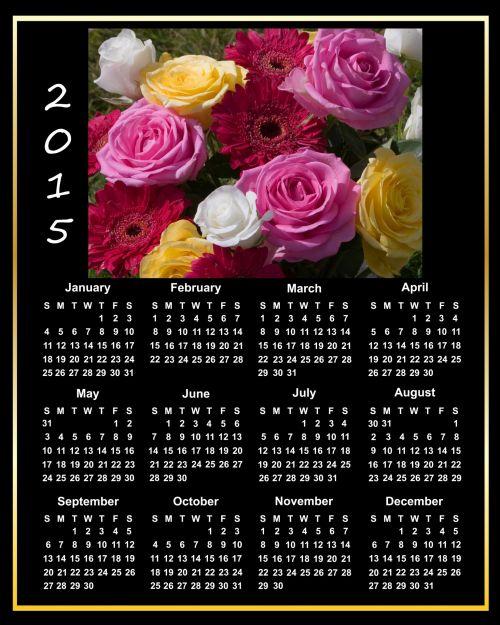 2015 Calendar Pink Roses