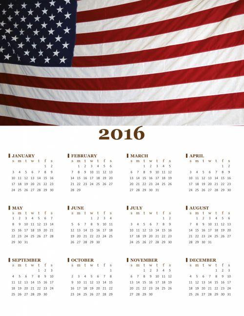 2016 Annual American Flag Calendar