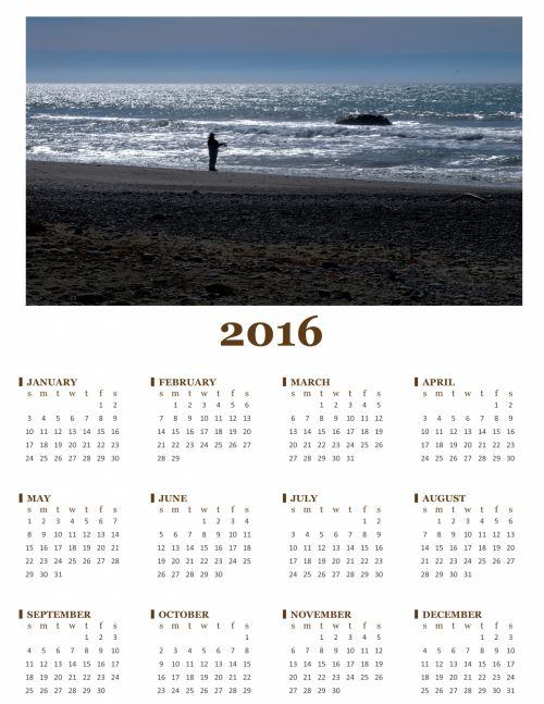 2016 Annual Calendar Of Fisherman