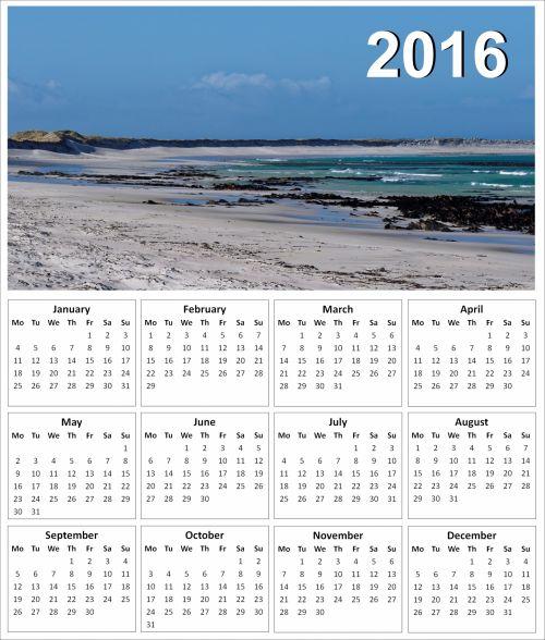 2016 Beach Calendar