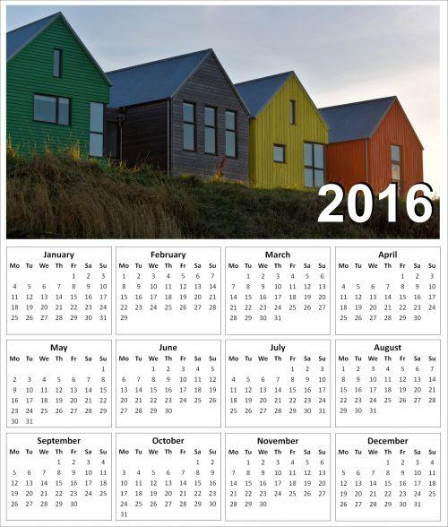 2016 Coloured Houses Calendar