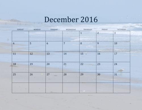 2016 December Beach Calendar