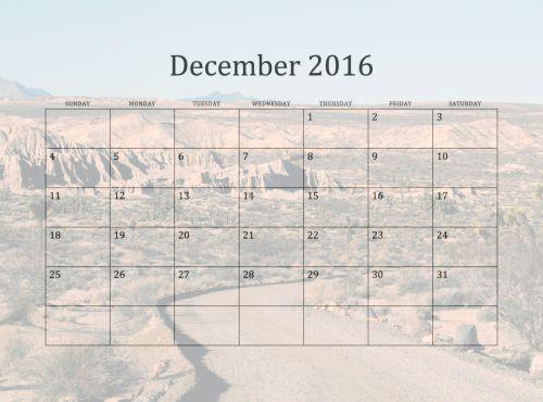2016 December Monthly Calendar