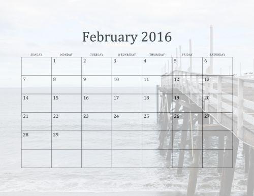 2016 February Beach Calendar