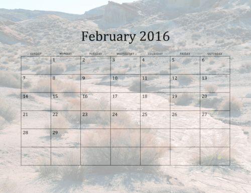 2016 February Monthly Calendar
