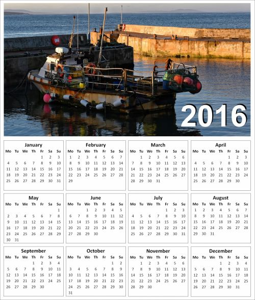 2016 Fishing Boat Calendar