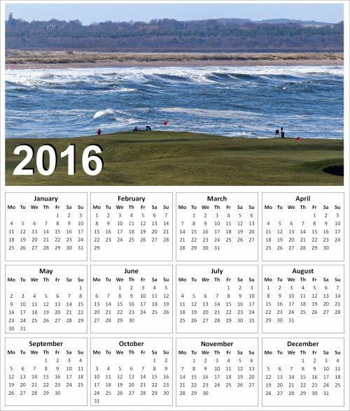 2016 Golf Calendar 1