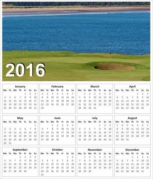 2016 Golf Calendar 2
