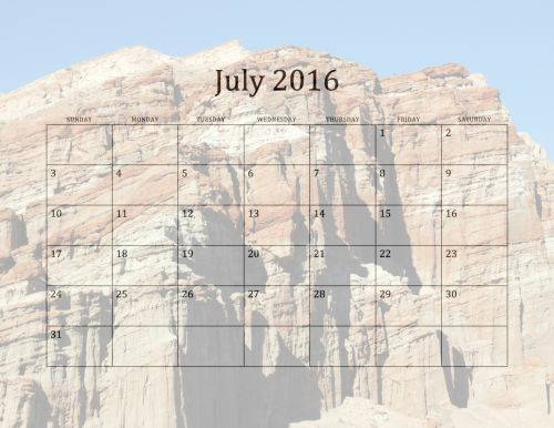 2016 July Monthly Calendar