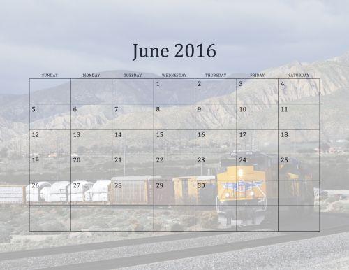 2016 June Monthly Calendar