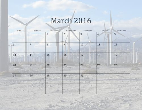2016 March Monthly Calendar