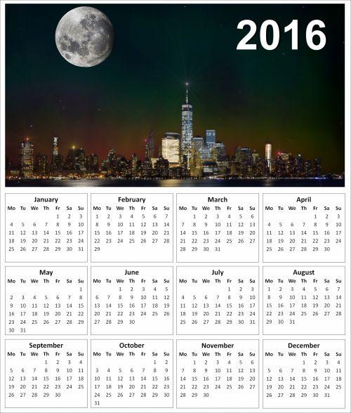 2016 New York Calendar