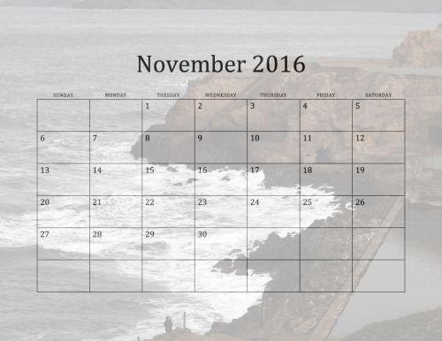 2016 November Beach Calendar