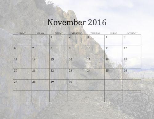 2016 November Monthly Calendar