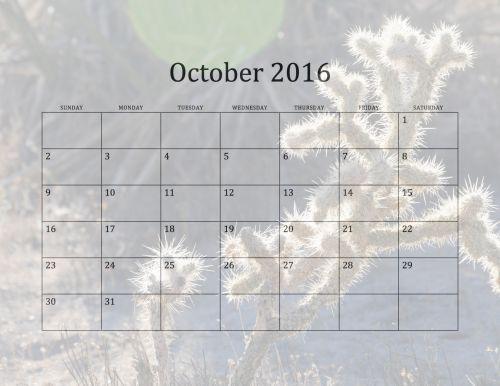 2016 October Monthly Calendar