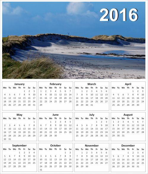 2016 Sand Dunes Calendar
