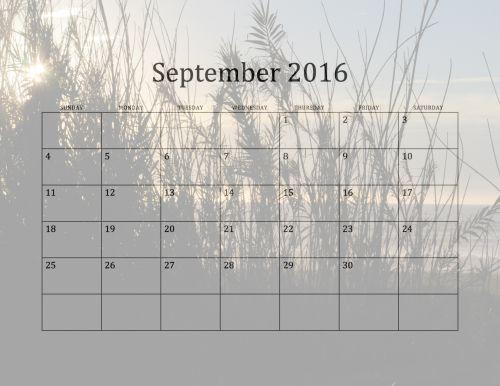 2016 September Beach Calendar