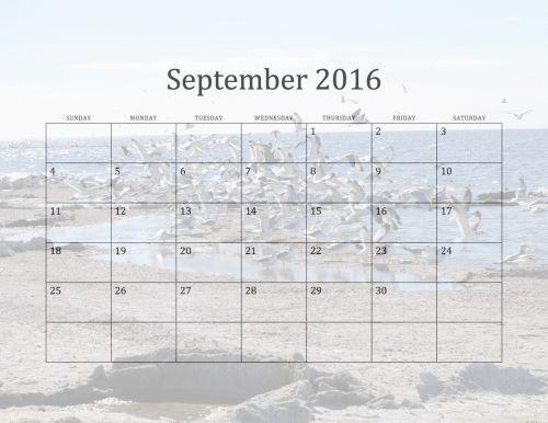 2016 September Monthly Calendar