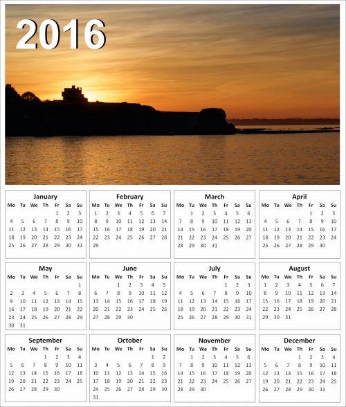 2016 Sunset Calendar