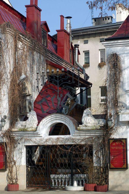 pastatas, restoranas, Krakow, kazimierz, balta, raudona, Jėzus, restoranas Krakowe